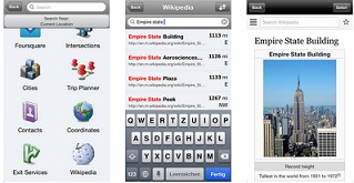 Navigon app with Bluetooth audio support and Wikipedia integration