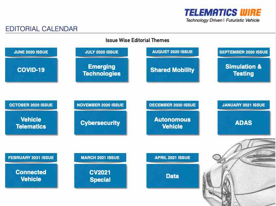 Telematics Wire  Monthly digital magazine, themes for upcoming issues