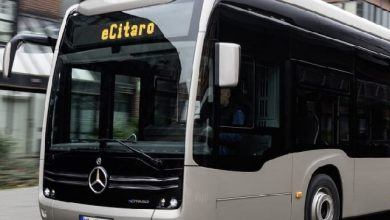 Immediately before the rollout: the new fully-electric articulated bus, the Mercedes-Benz eCitaro G with innovative solid-state batteries