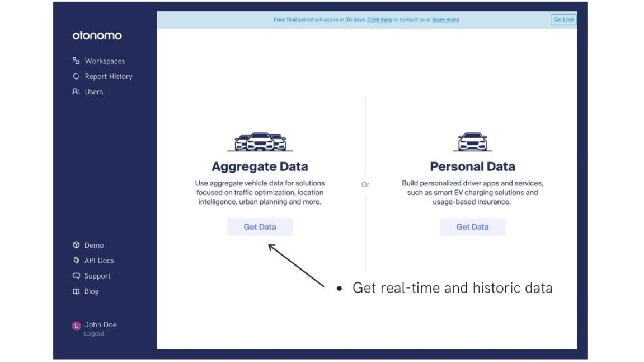 Otonomo's self-serve platform and API deliver quick and secure access to rich, privacy-protected aggregated car data