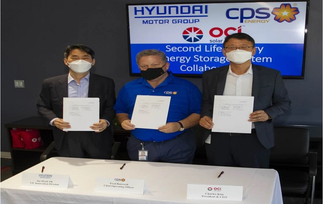 OCI Solar Power, CPS Energy, and Hyundai motor group agree to enter negotiations to test an innovative way to store energy